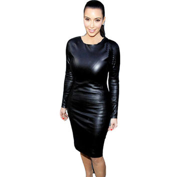 M/2XL Plus Size Women Sexy Bandage Dress 2016 Fashion PU Leather Long Sleeve Night Clubwear Package Hip Black Midi Party Vestido