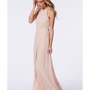 Missguided - Strappy Open Back Maxi Dress Nude