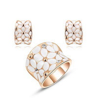 New Year Gift Flower Rings + Stud Earrings Rose Gold Plated Austrian Colorful Crystals Hand Made Fashion Jewelry Set (Color: Rose gold)