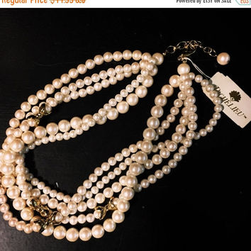 5 DAY SALE (Ends Soon) Vintage 5 String Richelieu Faux Pearl Necklace