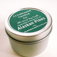 Alaskan Pines Soy wax Candle,Soy Candle Tin, Scented Soy Candles, Hand Poured Soy Candles, Soy Candles Handmade