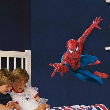 3d Spiderman wall stickers for kids rooms pvc wall decal for Children Boys Kids room Superman Super Hero