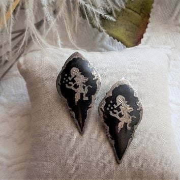 Vintage Siam Sterling Silver Black Enamel Niello Clip Earrings