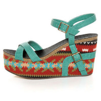 Michael Antonio Genoa Green Southwest Print Platform Sandals - $59.00