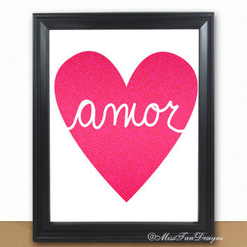 Love Art Print, Amor, Amour, Love, Poster Print, Love Poster, Love Pink Heart, Personalized, Romantic Art, Buy TWO Get ONE FREE, Unframed