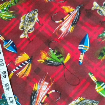 Fishing flannel fabric lures fly flies fish fisherman quilting cotton quilt print quilters material sewing project BTY crafting by the yard