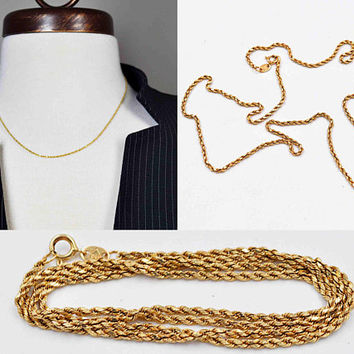 Vintage 14K Yellow Gold Rope Chain Necklace, Twisted Rope, 18 Inches Long, Fine Gold Chain, 1.9 Grams, Splendid! #c519
