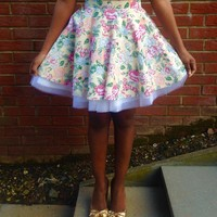 Yellow Floral Full Circle Skirt   Style Icon`s Closet