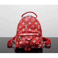 LV Louis Vuitton Trending Women Print Shoulder Bag Bookbag Backpack School Bag Red I