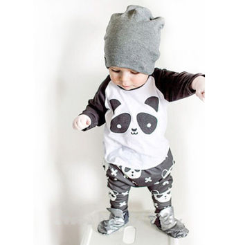 Baby Boy Clothes 2016Brand Autumn Kids Clothes Set T-shirt+Pants Suit Infant Girl Clothing Set Panda Printed Newborn Cotton Suit