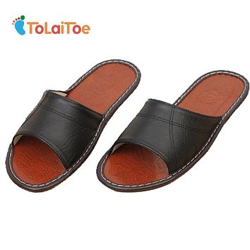 ToLaiToe Men's Home Spring&Summer Cool Comfortable Black Genuine Leather Slipper Cow Muscle Sweat Indoor Sewing Slipper Shoes
