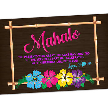 Luau Thank You Cards - Hawaiian Birthday Party - Tropical Thank You Card - Mahalo Thank You Card - Girl Luau Birthday Party - Pink