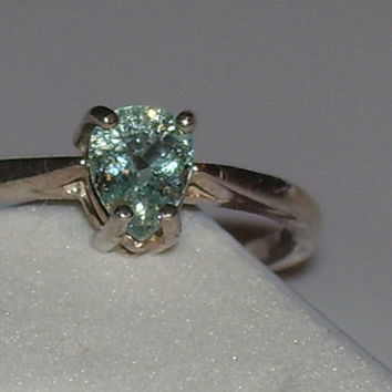 New Sterling Silver ring sz 7 ~ .44ct Blue Green Paraiba Tourmaline Certificate