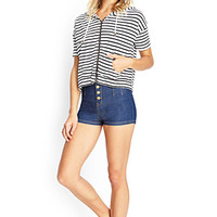 FOREVER 21 Striped Boxy Hooded Sweatshirt Oatmeal/Black