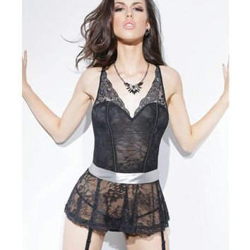 Spellbound Stretch Lace Peplum Corset W-removable Ribbon Belt & Garters Black-silver