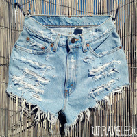 Levis Cut Off Denim Shorts XSMALL by UnraveledClothing on Etsy