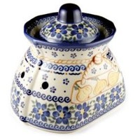 Polish Pottery Spring Blossom Small Garlic Keeper