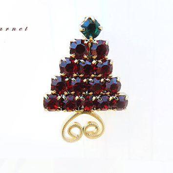 Vintage Garnet Red Swarovski Crystal Tree Pin, Small Christmas Tree Brooch, Holiday Jewelry Pin