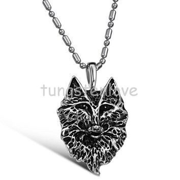 Unique 316L Stainless Steel Wolf Canine Tooth Shaped Pendant Necklace Men Cool Design Gift Jewelry