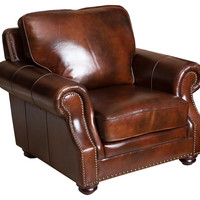 Ines Leather Armchair, Tobacco, Club Chairs