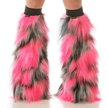 Pulsar Pink, Black and White Fluffies : Camo Pattern Fluffy Legwarmers from Indyglo