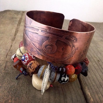 Etched copper cuff bangle, tribal bead wrap:  amulet bracelet, evil eye cuff, bead wrap bracelet, rustic copper cuff