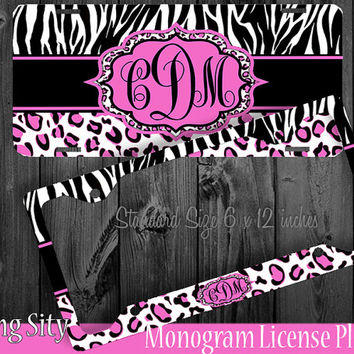 Leopard Monogram License Plate Frame Holder Hot Pink Zebra Cheetah Animal Print Pattern Personalized Custom Vanity
