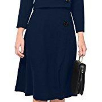 Marycrafts Womens Elegant Dress Work Office Lined Tea Midi Dress