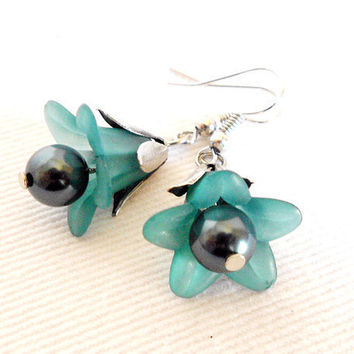 MYOSOTIS Vintage Inspired Lucite Petunia Flower Earrings in Teal & Silver by WilwarinDesigns