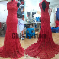2015 new / exquisite openwork lace / high neck / sleeveless / backless / sexy red mermaid prom dress trailing / formal evening dress