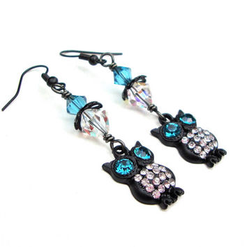 Sparkly black owl earrings with swarovski crystals - black & blue owl earrings - metal earrings - woodland inspired by Sparkle City Jewelry