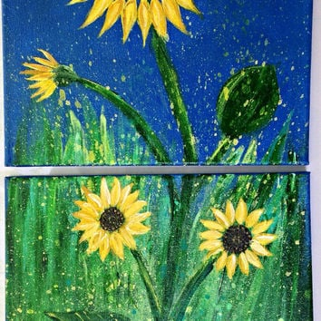 Sunflower painting on 2 panel canvas. Original acrylic diptych painting by JP Morris (2) 12x12 panels. Abstract, impressionist, wall art
