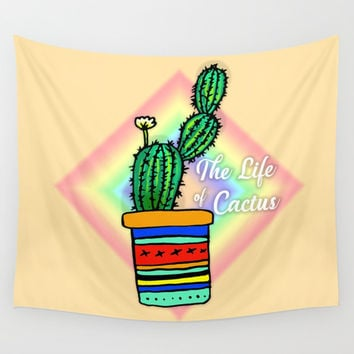 Cactus Drawing Wall Tapestry by Shashira Handmaker
