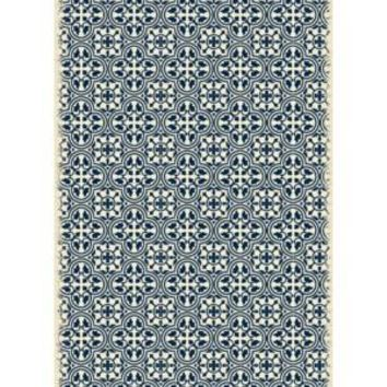 Modern European Design  Size Rug: 4ft x 6ft blue & white color with a weather aged finish super durable and multilayer technical grade vinyl rug.