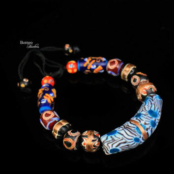 Bead Bangle,Adjustable Band,Multicolored Glass Bead Borneo Dayak Ulu Bead Tribal Chic Boho Bohemia Mixed Size,Shape Bead Jewelry Pattern#6