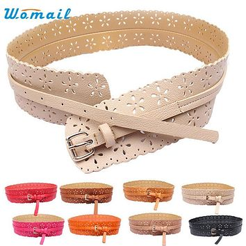 Womail Belts for women Fashion PU Leather Lady Hollow Flower Wide Waist Wide Waistband Harness Cinto Cinturon mujer belt 2017