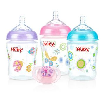 Nuby Natural Touch 9 ounce Bottles 3 Pack with Pacifier, Girl Assortment - Walmart.com