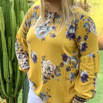 In A Pinch Floral Long Sleeve Blouse - Mustard
