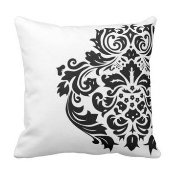 Black Damask White Background Outdoor Pillow