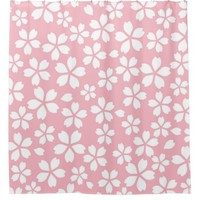 girly,pale,pink,cute,chic,pattern,template,floral, shower curtain