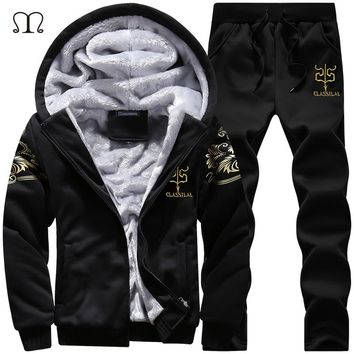 Winter Thick Inner Wool Hoodie Men Hat Casual Warm Suit