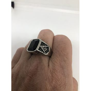 Vintage Gothic Silver Stainless Steel Genuine Black Onyx Free Mason Mens Ring