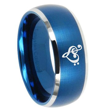 10mm Music & Heart Dome Brushed Blue 2 Tone Tungsten Carbide Wedding Band Mens