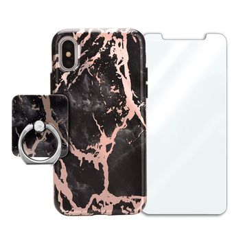 Black Marble Rose Gold Chrome Bundle Set
