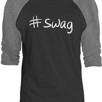 Big Texas Hastag Swag (White) 3/4-Sleeve Raglan Baseball T-Shirt