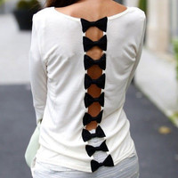 White Long Sleeve Bow Cut-Out Back Top