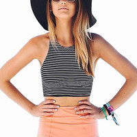 Black and White Striped High Waist Bikini