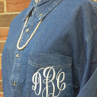 Monogrammed Men's Button Down BRIDAL party shirt  Denim, light or dark  3 letter monogram  Wedding day Getting ready shirts Bridesmaids gift