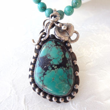 Green Turquoise Necklace, 925 Sterling Silver Necklace, Turquoise Jewelry, Pendant Jewelry, Semiprecious Stone NecklaceOOAK, Mother's Day