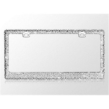 Valor LPF2EC029WIT Jeweled Crystal Rhinestone License Plate Frame